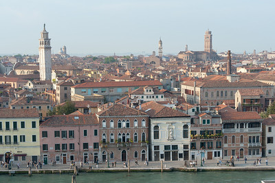 City skyline with views of the towers in Venice, Italy