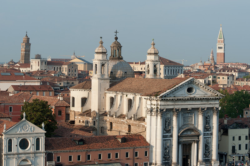 The Church of Igreja de Santa Maria do Rosario and view of towers and skyline in Venice, Italy