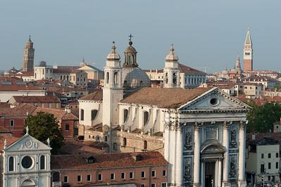 The Church of Igreja de Santa Maria do Rosario and view of towers and skyline in Venice, Italy