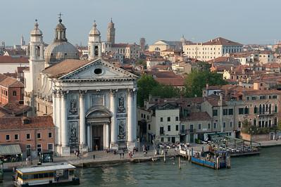 The Church of Igreja de Santa Maria do Rosario and buildings near the Grand Canal - Venice, Italy
