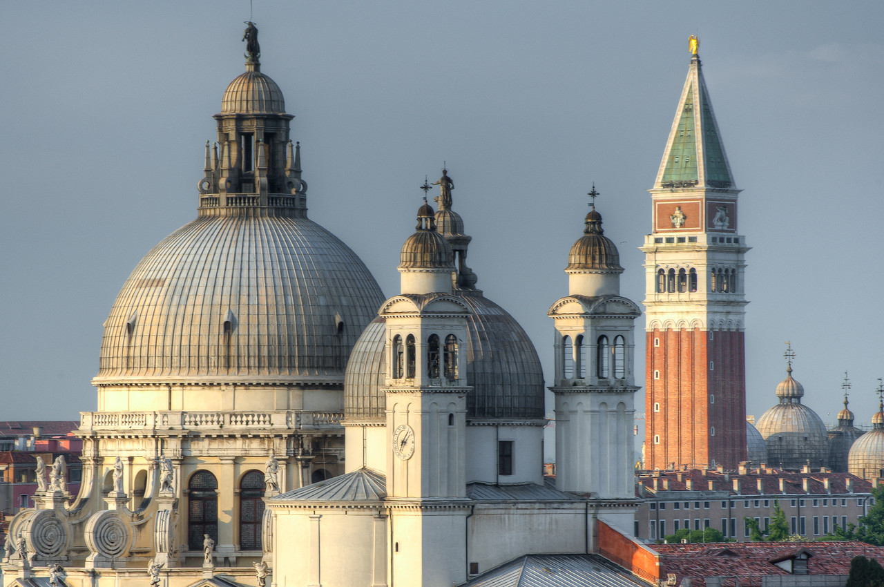 Domes of Santa Maria della Salute and St. Mark's Bell Tower - Venice, Italy
