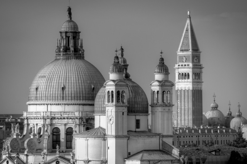 Domes of Santa Maria della Salute and St. Mark's Bell Tower in B&W - Venice, Italy