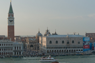 Wide shot of the Piazza San Marco across the Grand Canal - Venice, Italy