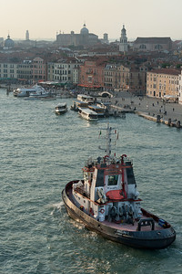 Boats cruising the Grand Canal in Venice, Italy