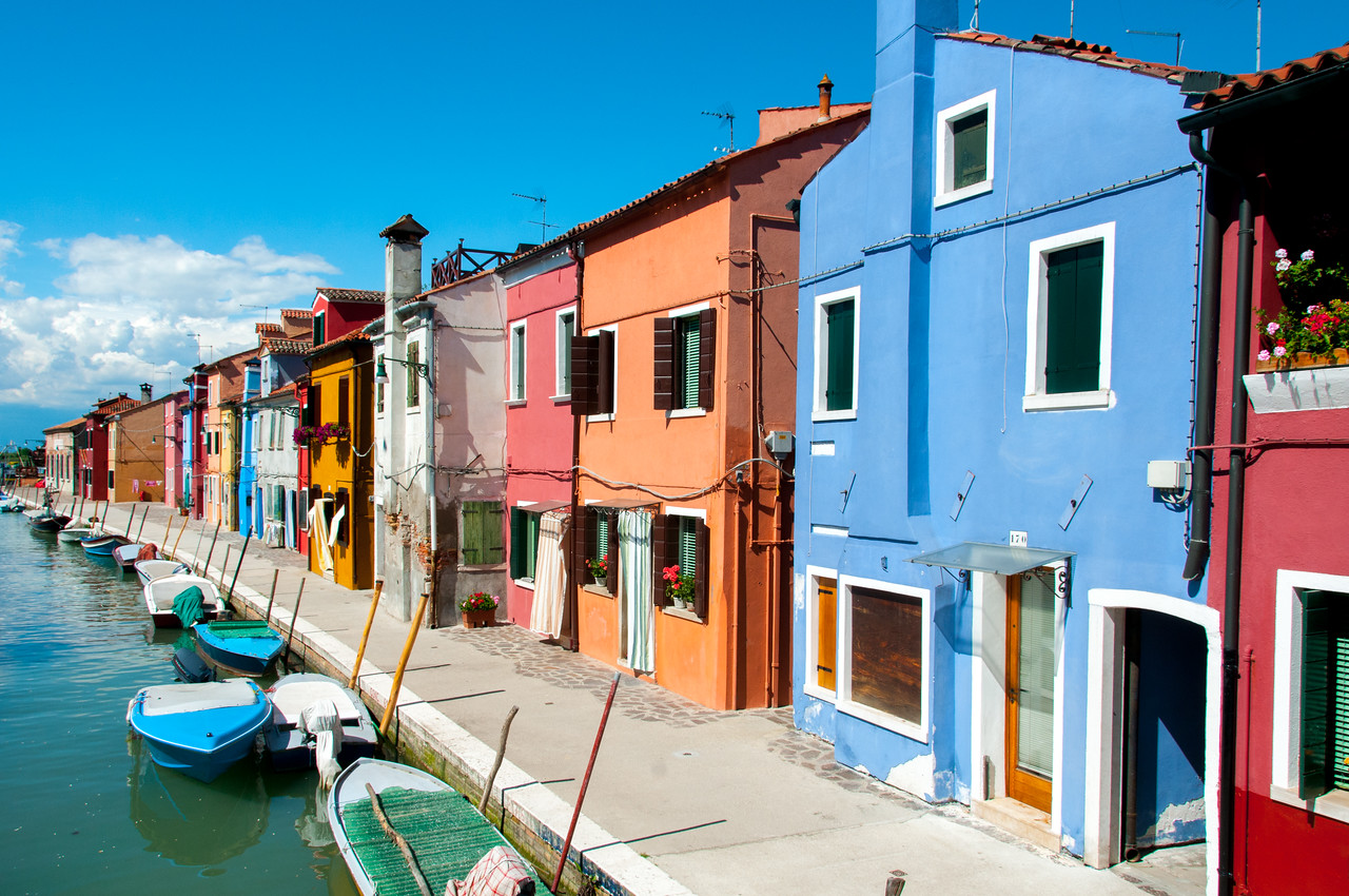 Colorful houses along the Grand Canal in Venice, Italy