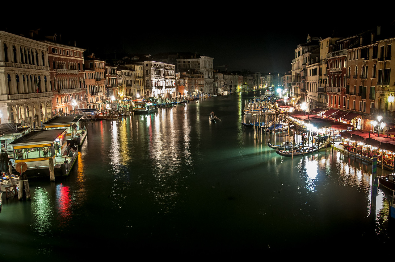 View of the Grand Canal at night in Venice, Italy