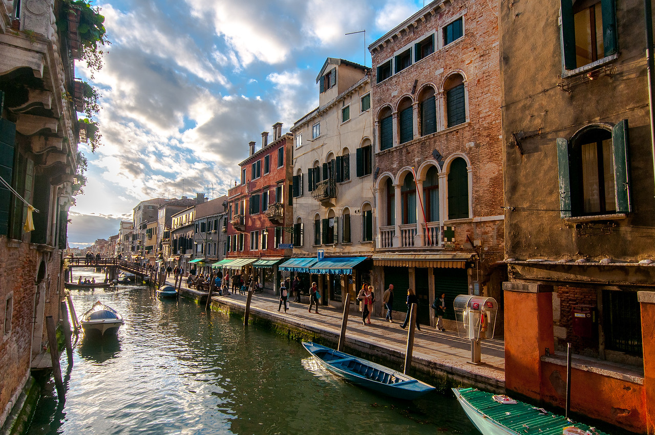 Buildings along a narrow side of the canal in Venice, Italy
