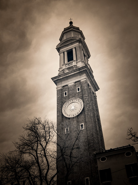 The Bell Tower of Santi Apostoli Church in infrared.