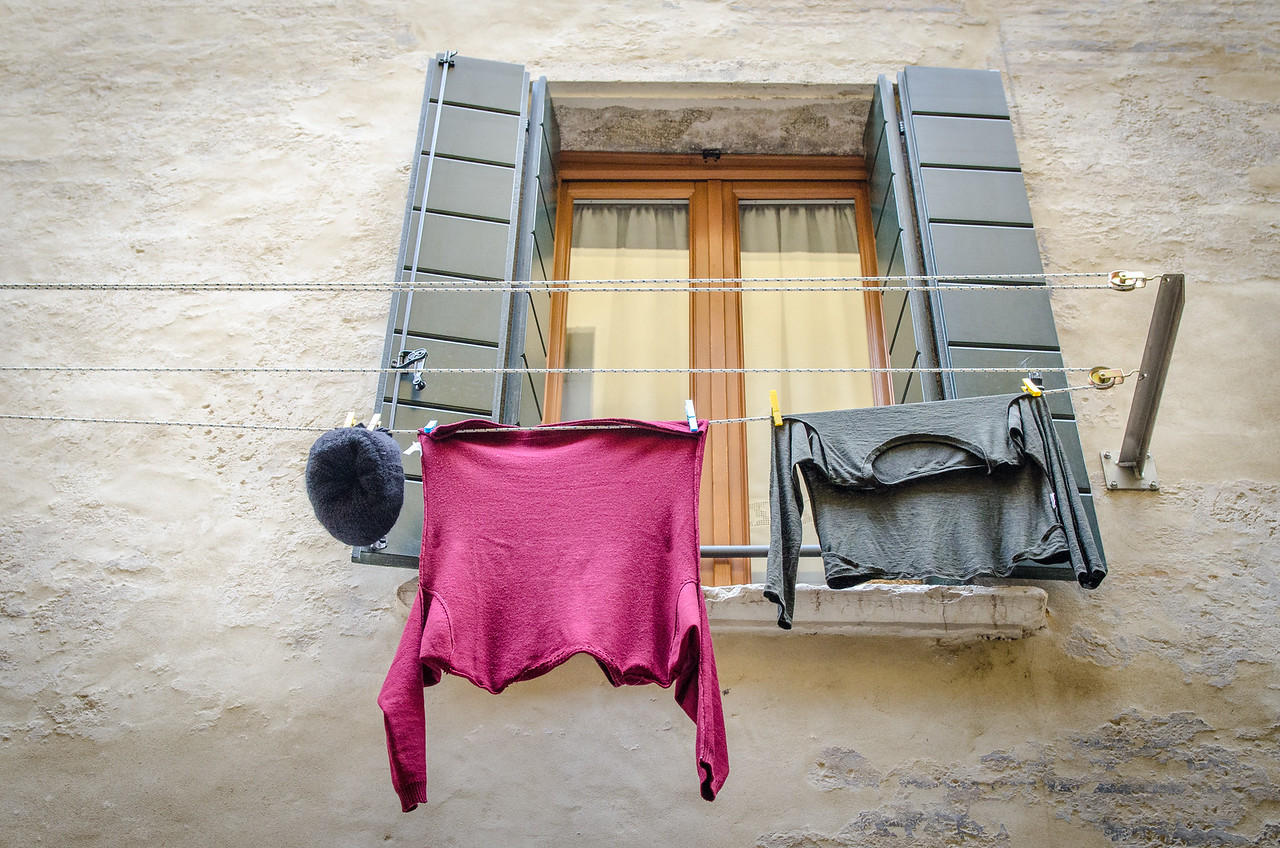 Laundry in a window.