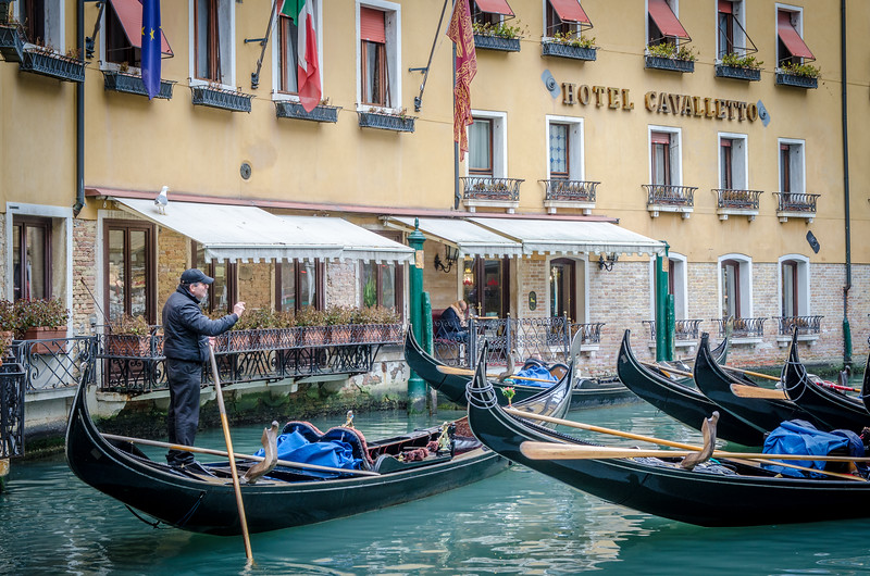 Gondolas in front of the Hotel Cavalletto.