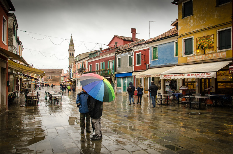 A rainy, cold winter day on Burano.