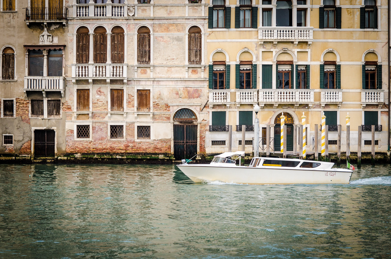 A water taxi on the Grand Canal.