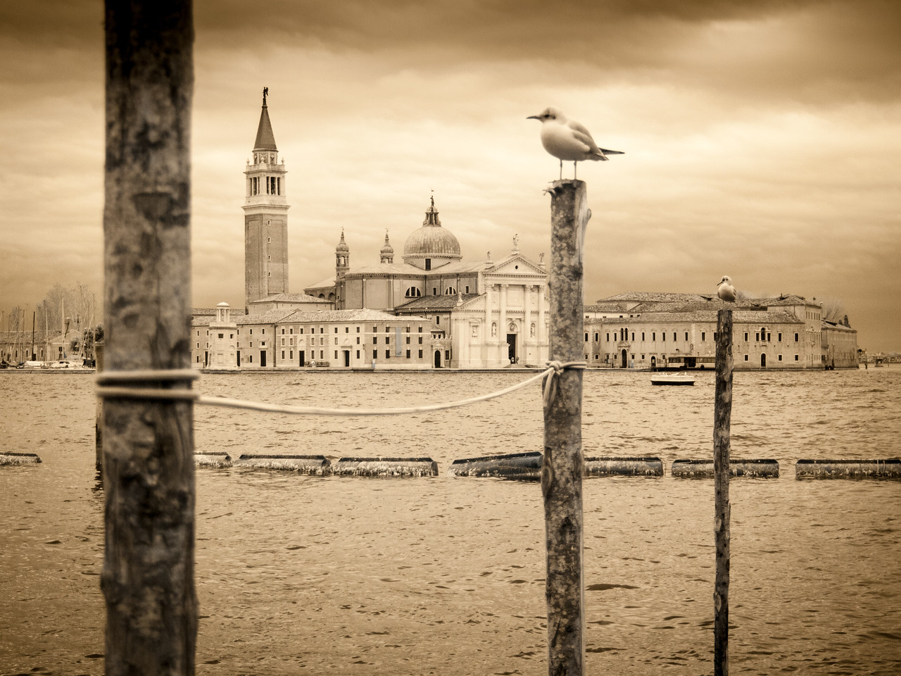 Church of San Giorgio Maggiore from St. Mark's square, infrared.