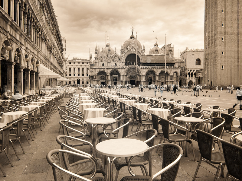 An empty cafe on a winter day, St Mark's Square, infrared.