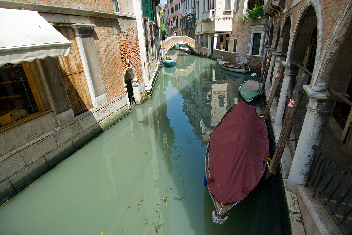 Canals and gondolas in Venice, Italy