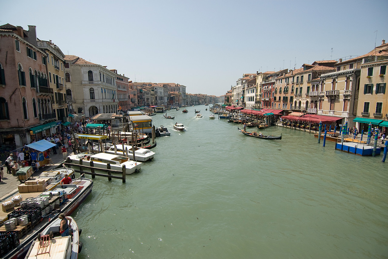 Gondolas and water taxis in Venice, Italy