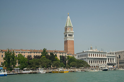 The bell tower towering above St. Mark's Square in Venice, Italy