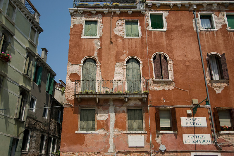 Old and dilapidated building in Venice, Italy