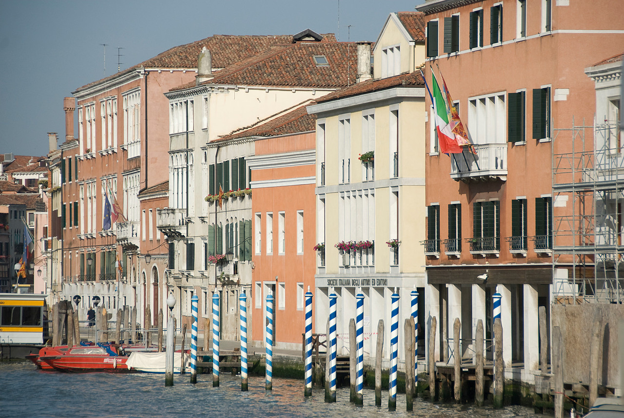 Row of colorful buildings near the canal in Venice, Italy
