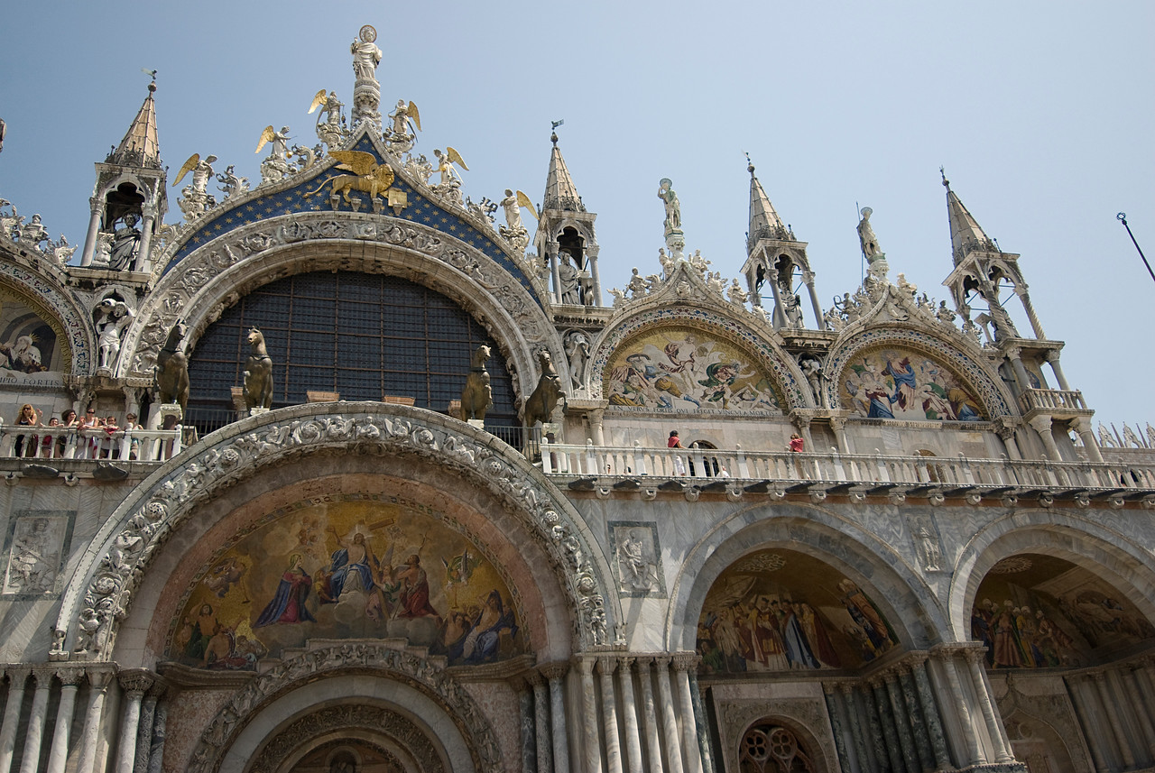 Architectural details of St. Mark's Basilica in Venice, Italy