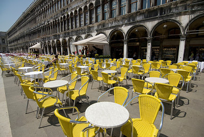 Alfresco seats at a restaurant in Venice, Italy