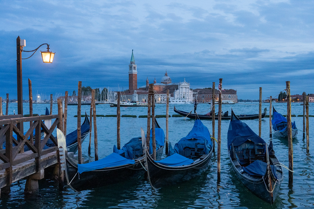 Gondolas at dusk in Venice