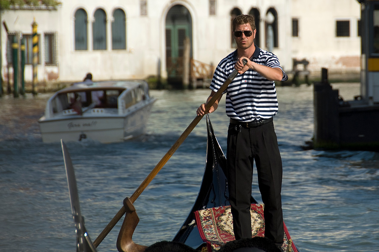 Gondolier wearing stripes in Venice, Italy
