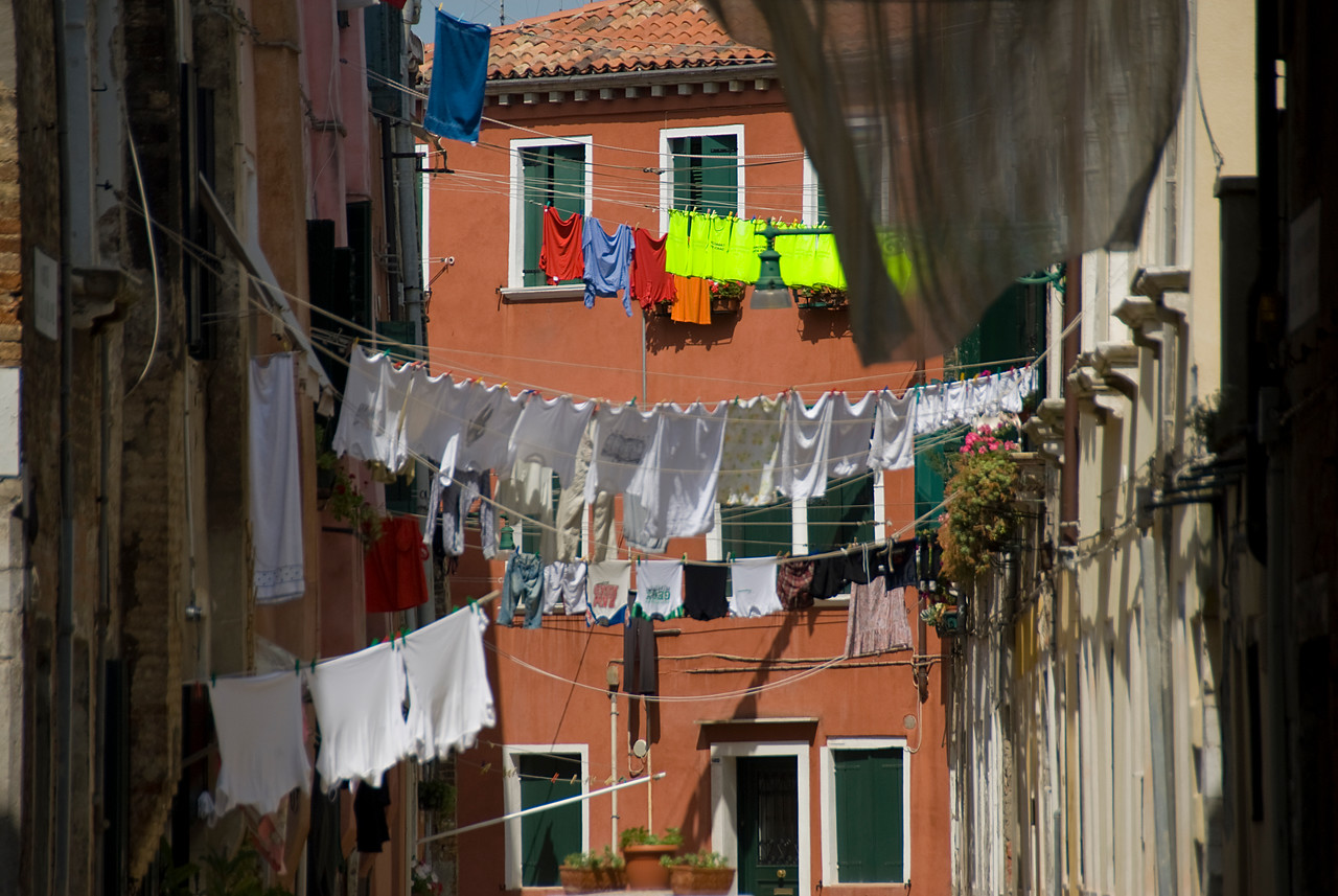 Clothes hanging from clothesline in Venice, Italy