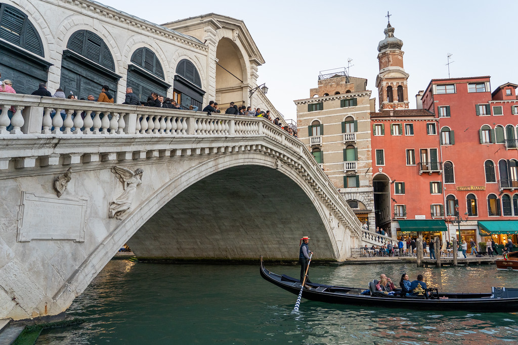 Gondola under the Rialto Bridge in Venice