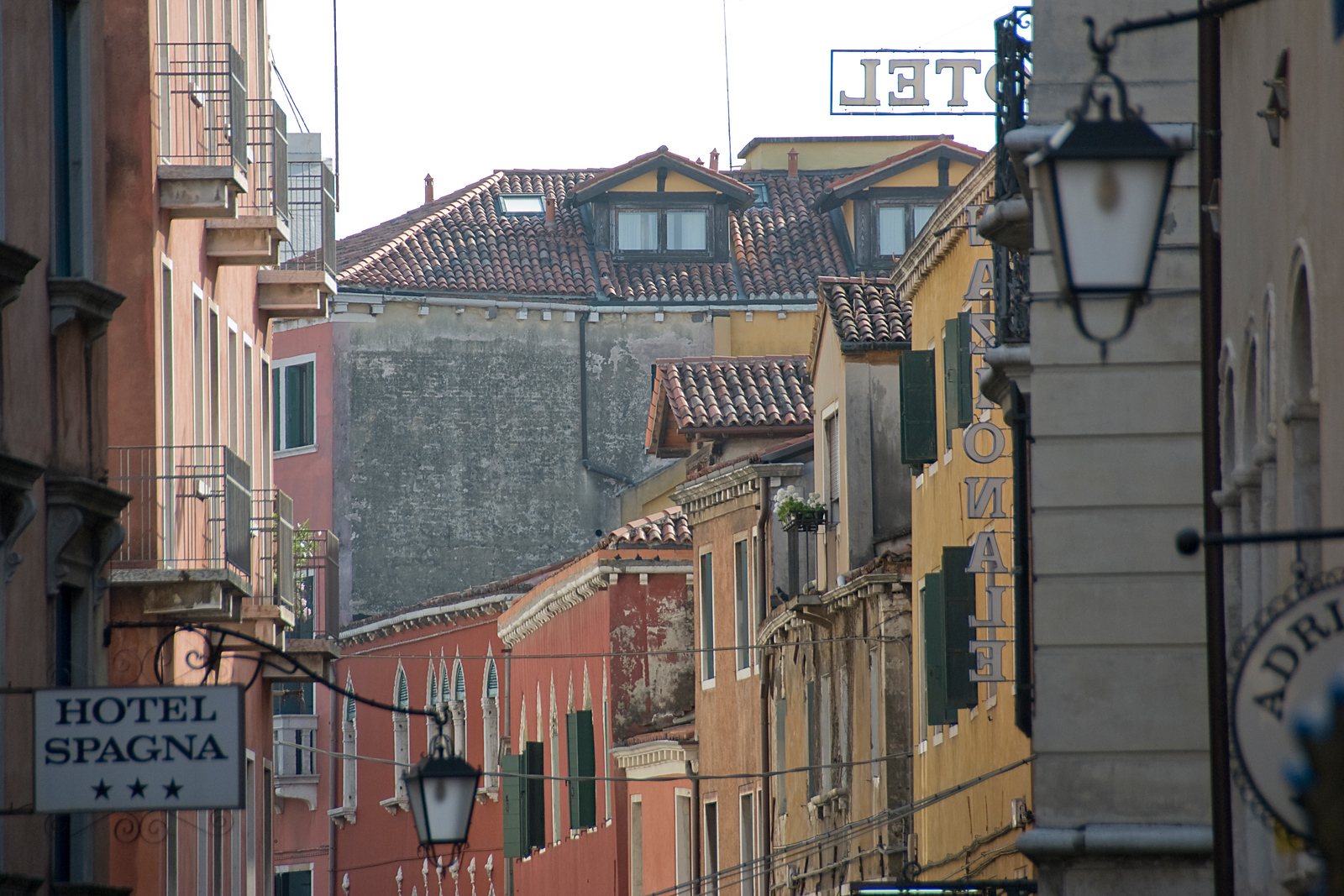 Row of buildings in an alley at Venice, Italy