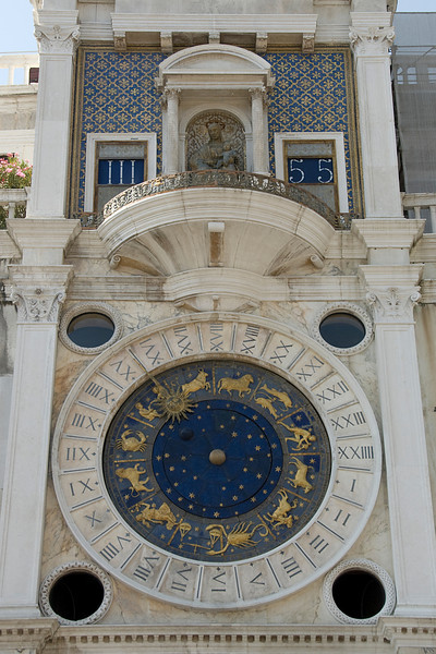 Looking up the St. Mark's Clock at Piazza San Marco in Venice, Italy