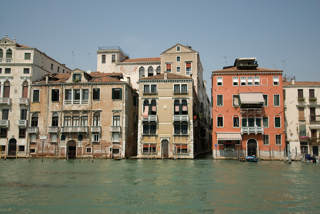Row of buildings across the canal in Venice, Italy