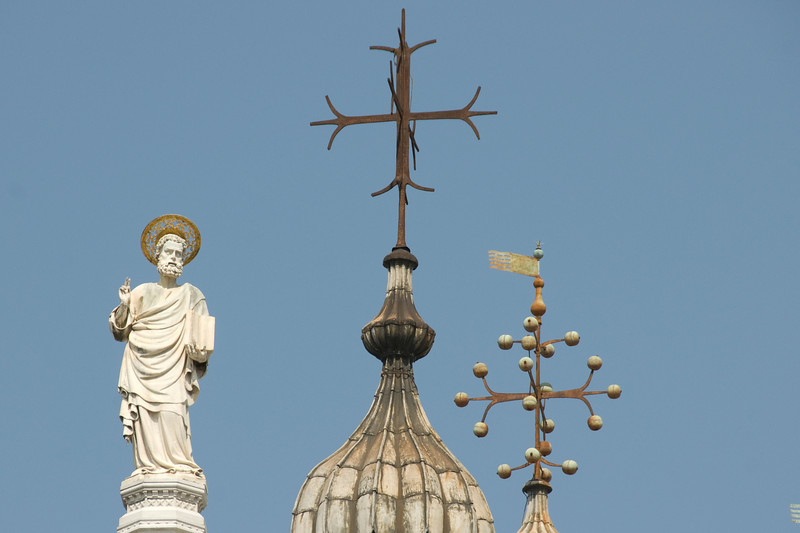 Statue of Saint Marc in St. Mark's Basilica in Venice, Italy