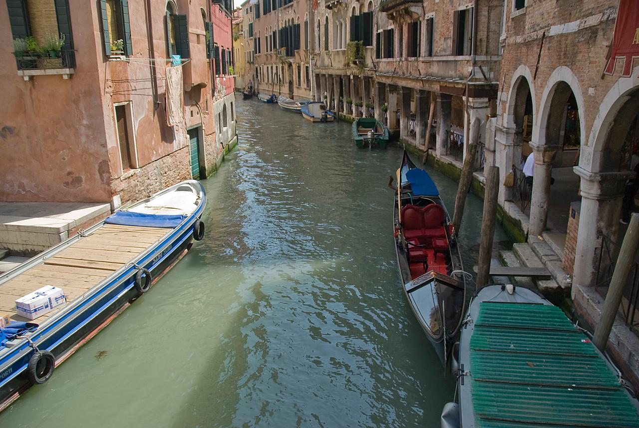 Parked gondolas near buildings in Venice, Italy