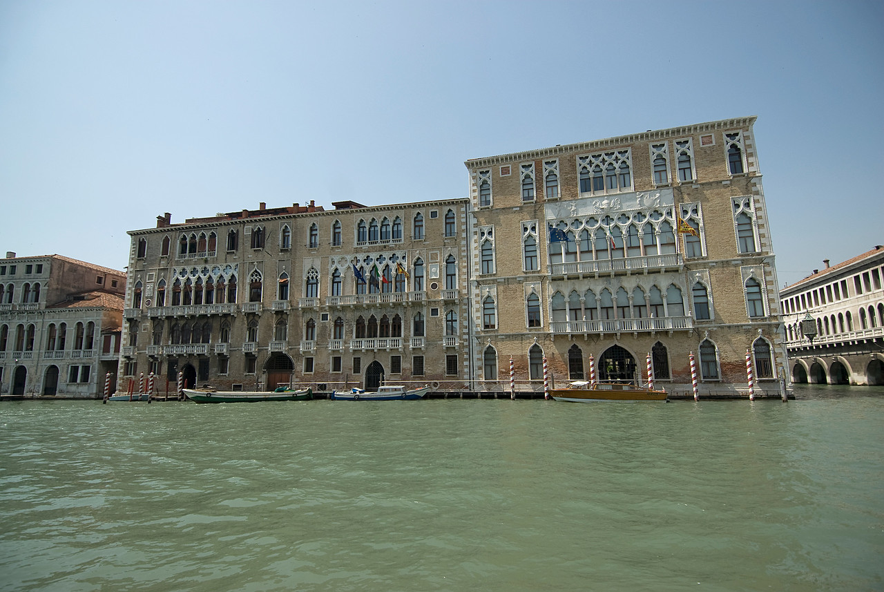 Beautiful architecture on buildings near Grand Canal in Venice, Italy