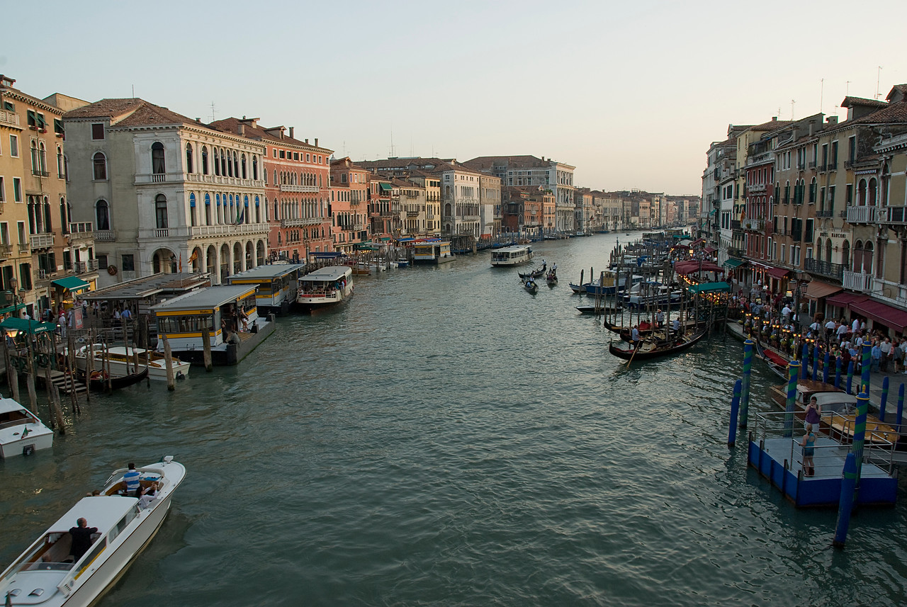 Wide shot of the Grand Canal at sunset - Venice, Italy