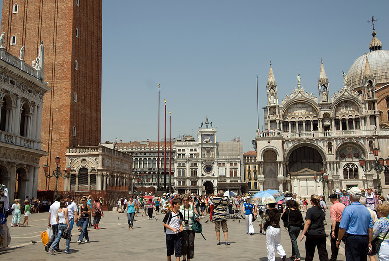 Shot of the crowd at St. Mark's Square in Venice, Italy