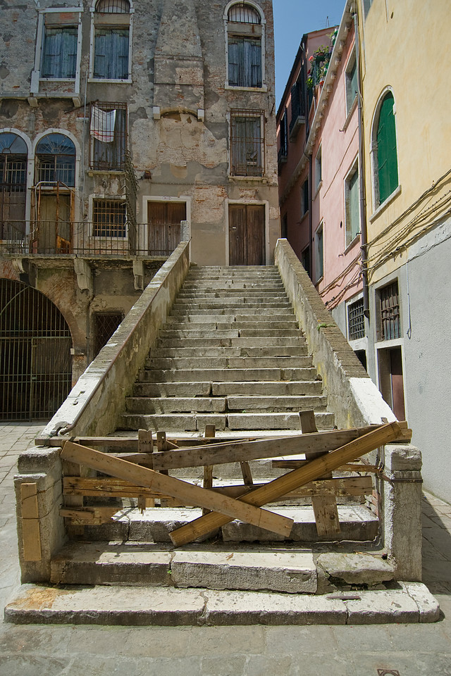 Blocked old stairway in Venice, Italy