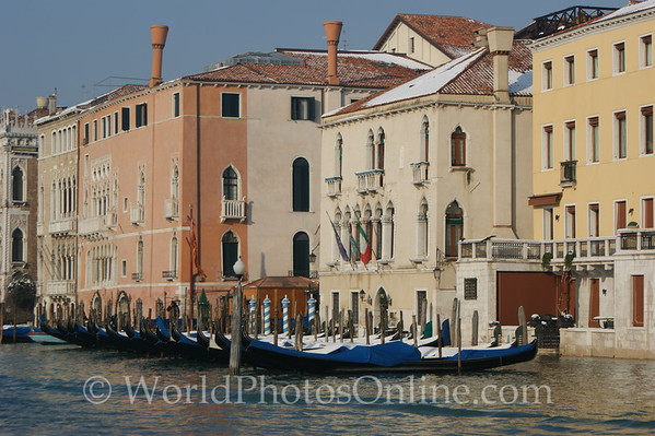 Venice - Gondulas covered with snow
