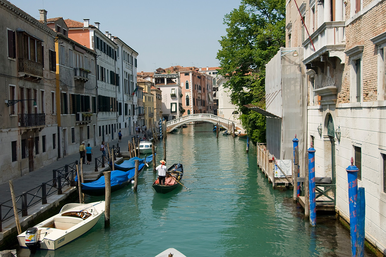 View of the Ponte delle Guglie from afar - Venice, Italy