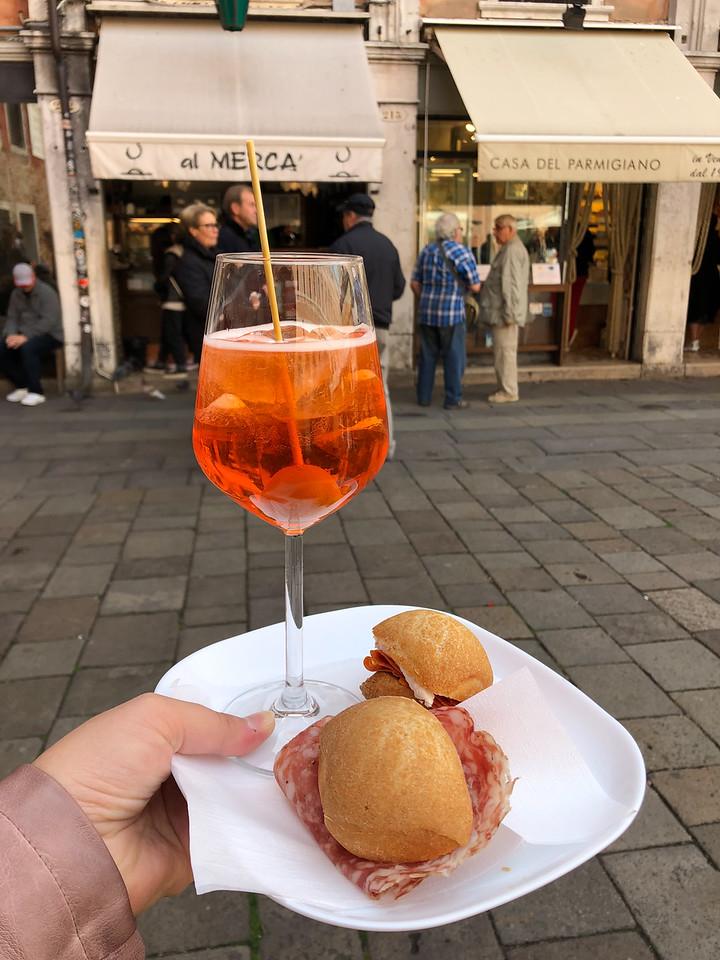 Cicchetti and an Aperol Spritz from Al Merca in Venice