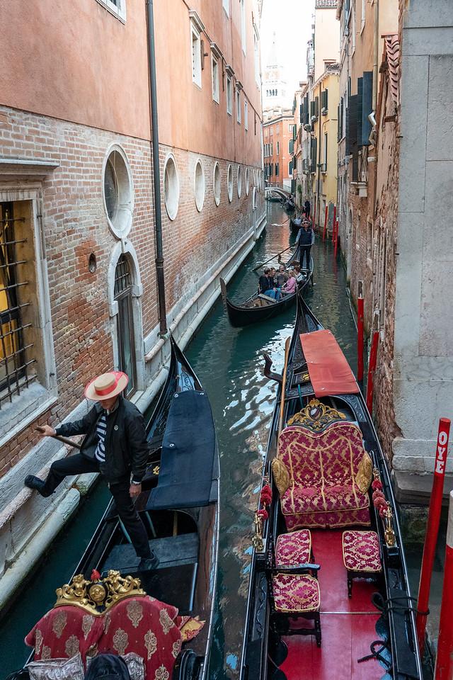 Gondola traffic in Venice