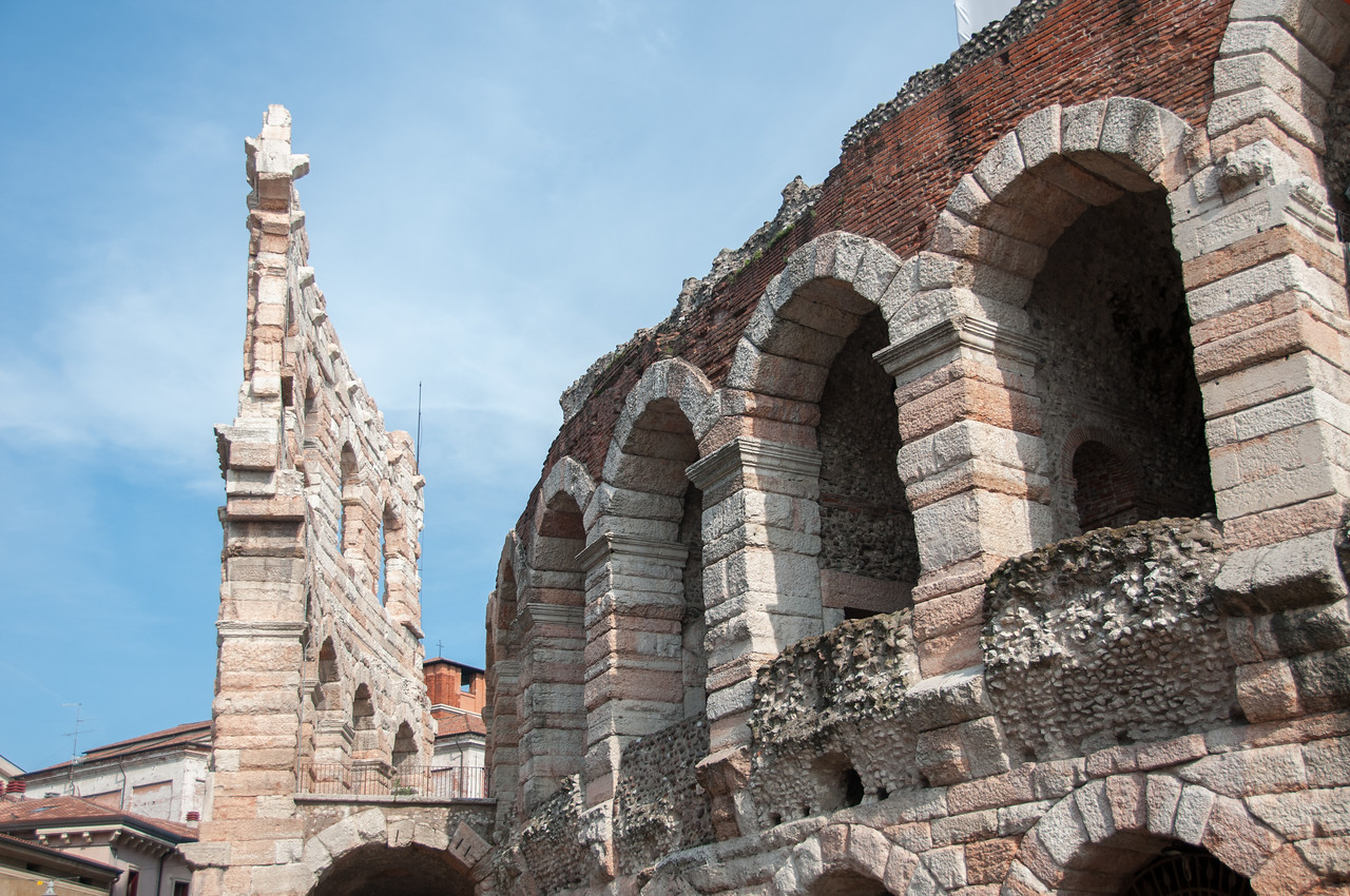The ruins of Roman Ampitheatre in Verona, Italy