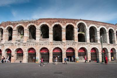 Street scene outside Roman Ampitheatre in Verona, Italy