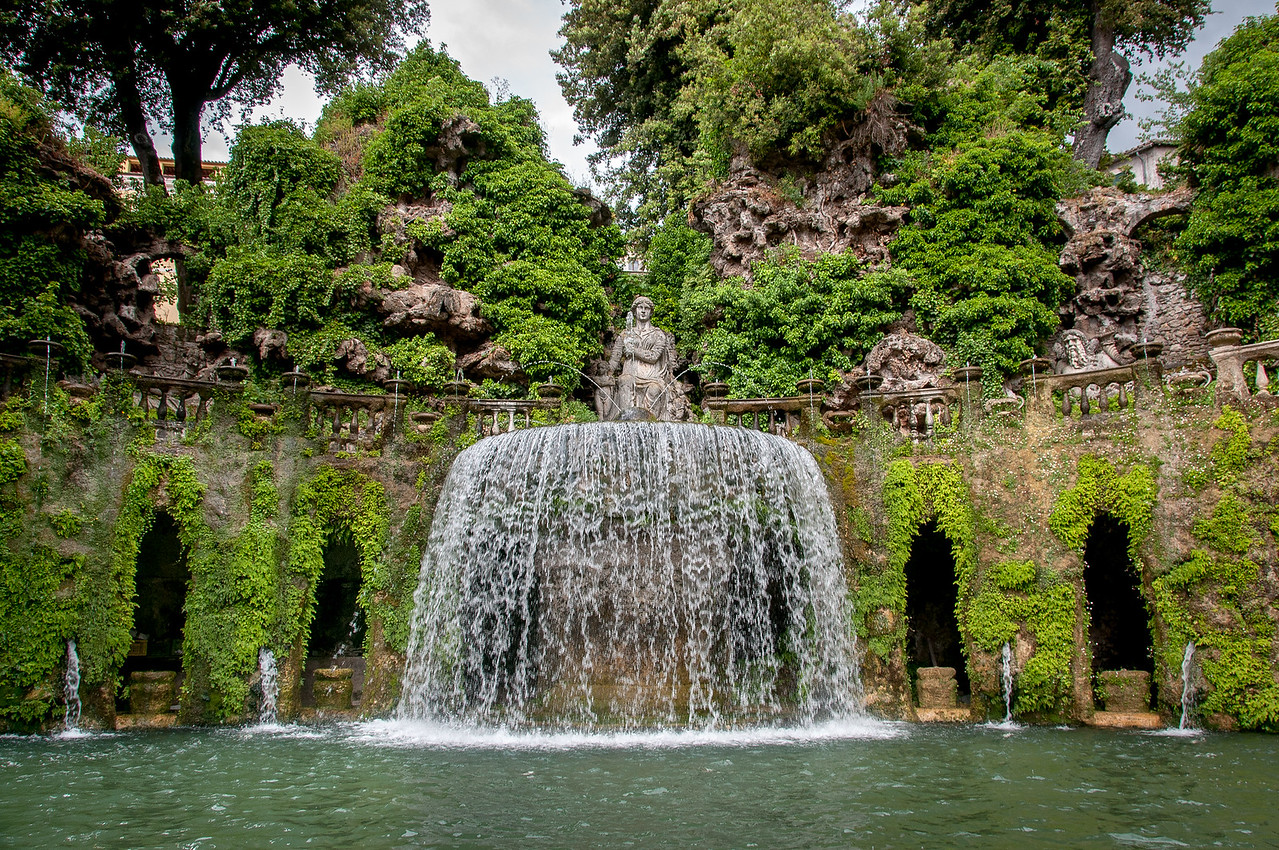 The Fontana dell'Ovato (Oval Fountain) at Villa d'Este in Italy