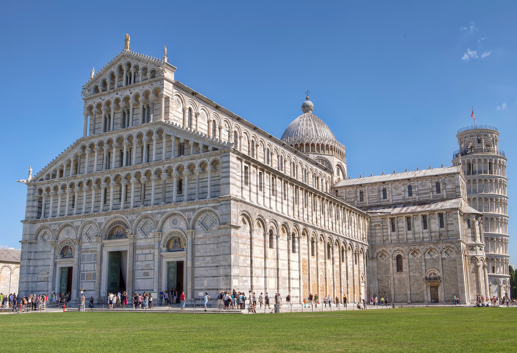 pisa cathedral with leaning tower in background