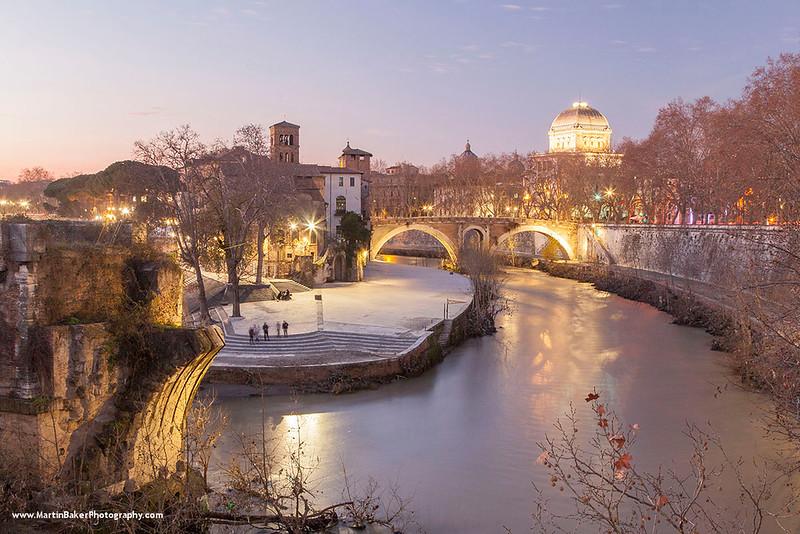 Isola Tiberina and River Tiber, Rome, Lazio, Italy.