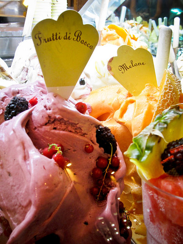 Vibrant colors and flavors of gelato in Florence, Italy.