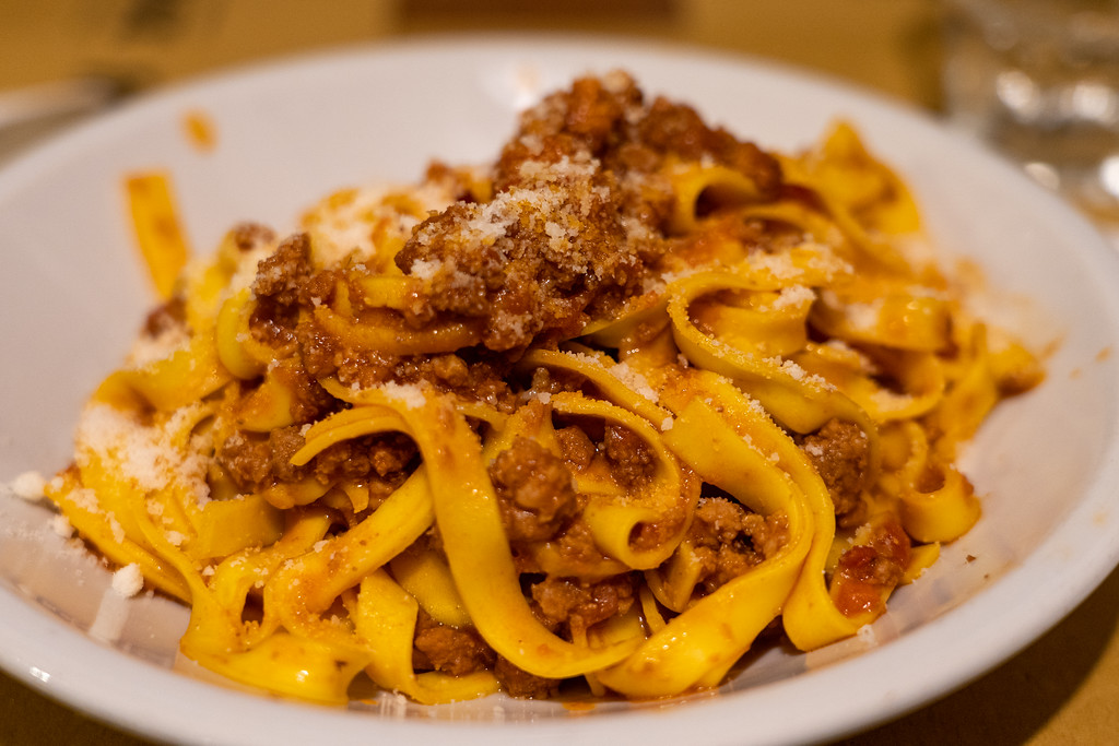 A bowl of tagliatelle al ragù at Osteria dell'Orsa