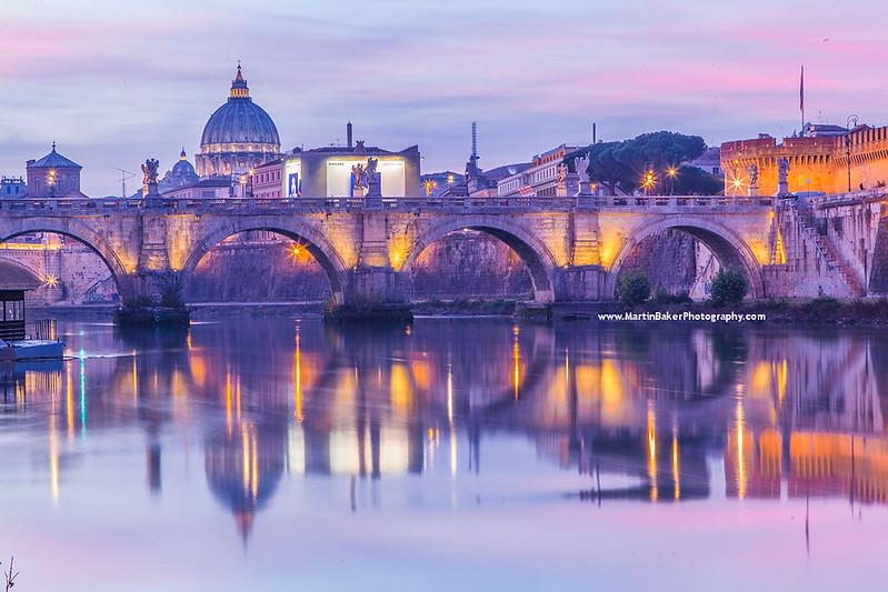 River Tiber and Saint Peter's Basilica (Vatican City), Rome, Italy.